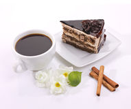 Chocolate cake, flowers  and coffee Royalty Free Stock Photos