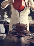 Chocolate cake food photography recipe idea Royalty Free Stock Photo