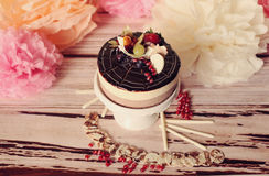 Chocolate cake with forest fruits Royalty Free Stock Images