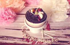 Chocolate cake with forest fruits Stock Photos