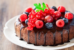 Chocolate cake with fresh berries. Selective focus Royalty Free Stock Image