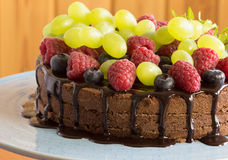 Chocolate cake with fresh berries, selective focus Royalty Free Stock Photography