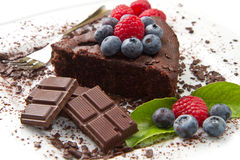 Chocolate cake with fresh berry Stock Photo