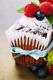 Chocolate cake with fresh berry Royalty Free Stock Image