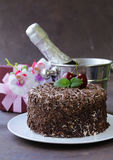 Chocolate cake with fresh cherries (Black Forest) Stock Image