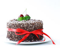 Chocolate cake with fresh cherries (Black Forest). Chocolate cake with fresh cherries (Black Forest, Schwarzwald Royalty Free Stock Images