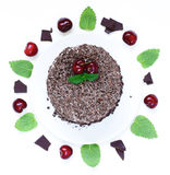 Chocolate cake with fresh cherries (Black Forest). Chocolate cake with fresh cherries (Black Forest, Schwarzwald Royalty Free Stock Photo