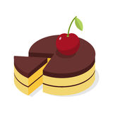 Chocolate cake with fresh cherries. Piece of celebratory. Pie isometrics. 3D delicious confection Royalty Free Stock Image