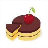 Chocolate cake with fresh cherries. Piece of celebratory Royalty Free Stock Image