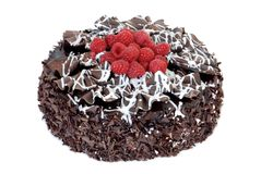Chocolate cake with fresh raspberries Stock Images