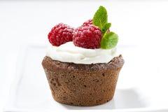 Chocolate cake with fresh raspberries. Closeup Stock Image