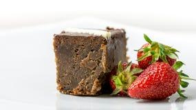 Chocolate cake with fresh strawberries Stock Photo
