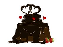 Chocolate cake. With fresh strawberries and hearts Stock Photos