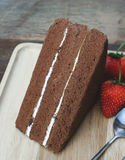 Chocolate cake. And fresh strawberry Royalty Free Stock Photos
