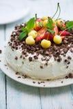 Chocolate cake with fresh strawberry Stock Image