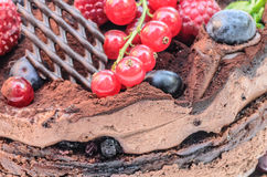 Chocolate cake with fruits Stock Photo