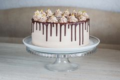 Chocolate Cake with Fudge Drizzled Icing and Curls royalty free stock photography