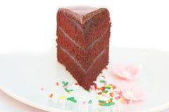 Chocolate cake with fudge sauce. Royalty Free Stock Image