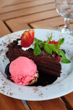 Chocolate cake with garnish. Delicious fresh chocolate cake with various berries, mint leaf and strawberry ice cream on a white plate royalty free stock photography