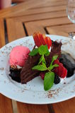 Chocolate cake with garnish. Delicious fresh chocolate cake with various berries, mint leaf and strawberry ice cream on a white plate stock photos