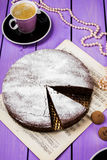 Chocolate cake with ginger. On a purple background Stock Image