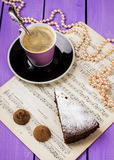 Chocolate cake with ginger. On a purple background Royalty Free Stock Image