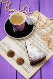 Chocolate cake with ginger. On a purple background Stock Images