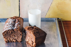 Chocolate cake with a glass of milk on baking tray Stock Image