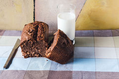 Chocolate cake with a glass of milk over tablecloth Royalty Free Stock Photo