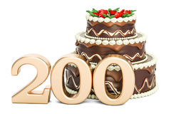 Chocolate cake with golden number 200, 3D rendering. Isolated on white background Stock Image