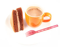 Chocolate cake great for during coffee break isolated on white Royalty Free Stock Photo