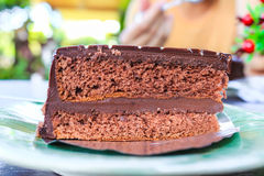 Chocolate cake. A homemade slice of chocolate cake Royalty Free Stock Photos