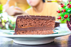 Chocolate cake. A homemade slice of chocolate cake Stock Images
