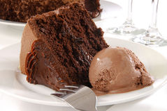 Chocolate cake and ice cream Royalty Free Stock Photos