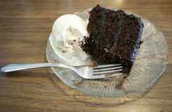 Chocolate cake and ice cream Royalty Free Stock Photo