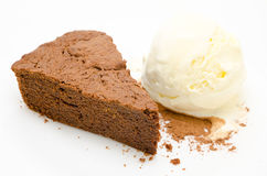 Chocolate cake with ice cream Royalty Free Stock Image