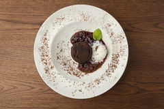 Chocolate cake with ice cream Royalty Free Stock Photography
