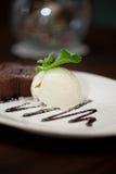 Chocolate cake with ice cream Stock Photos