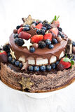 Chocolate cake with icing, decorated with fresh fruit Royalty Free Stock Photo