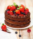 Chocolate cake with icing and fresh berry. On light background Royalty Free Stock Photography