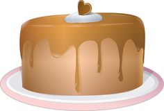 Chocolate Cake with icing. Illustration of a decorated chocolate cake icing and a chocolate heart Stock Photo
