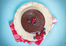 Chocolate cake with icing Stock Image
