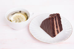 Chocolate cake with icing Stock Photo