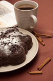 Chocolate cake with icing sugar Stock Photography