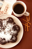 Chocolate cake with icing sugar Royalty Free Stock Photo