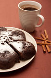 Chocolate cake with icing sugar Royalty Free Stock Photography