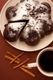 Chocolate cake with icing sugar Stock Photo