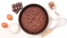 Chocolate cake and ingredient. On white Royalty Free Stock Images