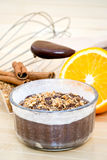 Chocolate cake and ingredients Royalty Free Stock Images