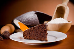 Chocolate Cake with Ingredients Stock Images